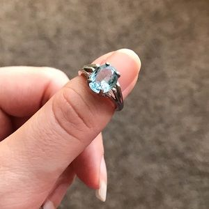 Vintage Aquamarine Color Oval Stone Ring
